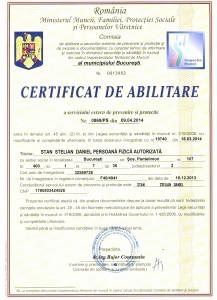 Certificat de abilitare serviciu extern de prevenire si protectie